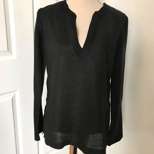 Black Linen Long Sleeve Blouse Top Side Slits M